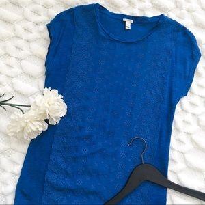 J Crew Eyelet Front Linen T-Shirt in Blue
